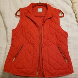 Red Old Navy Quilted Windbreaker Vest